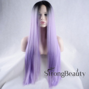 StrongBeauty Women Long Purple Straight Hair Wig Heat Resistant High Quality Lace Front Wig