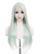 Stunning Mint Long Straight 60cm Silky Hair Synthetic Lace Front Wig