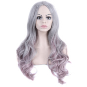 DENIYA Beautiful Long Wavy Wigs Ombre Wig Grey to Pink Wig for Women