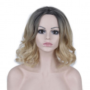 DENIYA Stunning Short Wavy Bob Wigs Ombre Wig Dark Grey to Blonde Wigs for Women