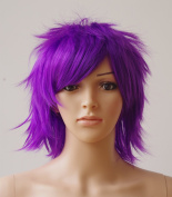 Anime Cosplay Synthetic Full Wig with Bangs 20 Styles Short Layered Fluffy Hair Oblique Fringe Full Head Unisex for Man and Women Girls Lady Fashion