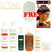 Etae Shampoo, Conditioner, Treatment, Buttershine, Gloss, Nutrient (6 items) with Free Shower Caps and Satin Cap