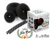 Hair Donut Ring Bun Styler (Black) 3 pieces Set. FREE French Braiding Styling tool. Best gift for her! Perfect for Thanksgiving, Christmas, Holiday, Easter Birthday Gifts.