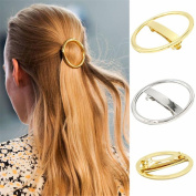 Wispun Gold/ Silver Hairclip Round Circle Metal Hairpin Hair Clip Clamp Accessories Barrettes Bobby Pin Ponytail Holder Statement Women's GIFT Headwear Headdress Styling Jewellery