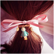 Casualfashion 5Pcs Exclusive Vintage Cartoon Pearl Pendant Hair Bow Ring Rope for Women Girls Ponytail Holder