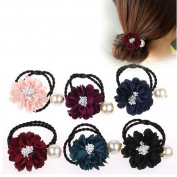 Casualfashion 5Pcs Sweet Headdress Rose Flower Hair Ties Ropes Rings Hairband with Pearls Hair Accessories
