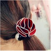Casualfashion 2Pcs Handmade Flower Pearls Hair Ties Rubber Band for Women Girls Hair Ropes Band Hair Circle Ponytail Holder