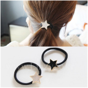 Casualfashion 2Pcs Fashion Temperament Women Girls Headdress Pentacle Hair Rings High Stretch Hair Ropes Rubber Band Ponytail Holder