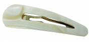 French Amie Clic Clac Large Ivory Handmade Cellulose Snap Hair Pin Clip