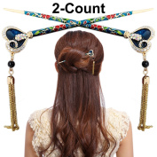 LiveZone 2-Count Fashion Hair Decor Chinese Traditional Style Women Girls Hair Stick Hairpin Hair Making Accessory with Heart-Shape and Tassels ,Peacock Blue