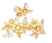 Drasawee Gold Leaves Wedding Bridal Hair Pins Pearls Evenig Party Headdress 2#