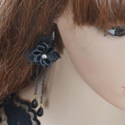 A & C Fashion and Charm Lace Earring for Women. Lovely Flowers Black Ear Drop for Girl.