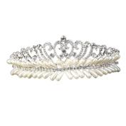 EUBUY Crystal Rhinestones Crown Tiara Headband Headpiece with Comb for Wedding Bridal Bridesmaid Prom