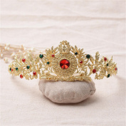 FUMUD Fashion Red/Green Rhinestone Crown Geometric Rhinestone Tiara Fashion Wedding Hairband Hair Accessories Bridal Jewellery