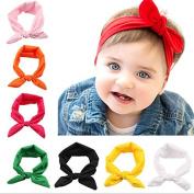 PETMALL 5pcs Fashion Baby Girl Headbands Cute Rabbit Ears Bow Hair Bands Baby Cloth Headband Bowknot Headwear E008
