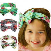 PETMALL 3pcs New Baby Girls Toddler Infant Newborn Flowers Print Floral Butterfly Bow Hairband Turban Knot Headband Hair Band Accessories E011