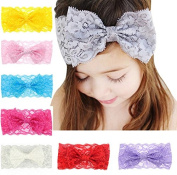PETMALL 5pcs Baby Hair Bands Girls Boys Lace Big Bow Hair Band Baby Head Wrap Headband Accessories hair accessories E013