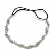 Wispun Floral Crystal Pave Bridal Bridesmaid Rhinestone Diamond Hair Hoop Elastic Stretch Headband Hair Accessory