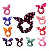 Ewandastore 20pcs Dot Rabbit Ear Hair Bow Tie Bands Chiffon Ponytail Holder Hair Tie for Women Teen Girls