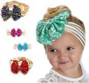 EUBUY 6pcs Baby Girls Toddler Bow Headbands Turban Hairband Headwear Head Wrap