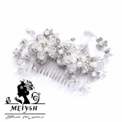 Meiysh Vintage Wedding & Brides Side Hair Comb with Silver Rhodium Flowers, Pearl & Crystal Sprays