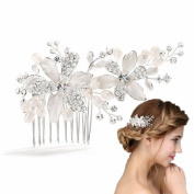 Meiysh Vintage Bridal Side Hair Comb Wedding Hairpiece with Flowers & Water Pearls
