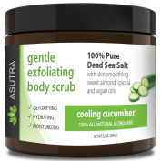 "Best ORGANIC Exfoliating Body Scrub - ""COOLING CUCUMBER"" - 100% Pure Dead Sea Salt Scrub / Ultra Hydrating & Moisturising with SKIN SMOOTHING Jojoba, Sweet Almond & Argan Oils - 350ml"