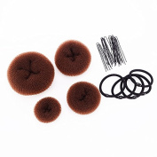 SWACC Hot Hair Donut Bun Maker Set Updo Scrunchie Chignon Hairpiece Ballerina Bun Maker, 4 Sizes + Hair Ties + Bobby Pins in Set