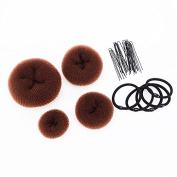 SWACC Hot Hair Donut Bun Maker Set Updo Scrunchie Chignon Hairpiece Ballerina Bun Maker, 4 Sizes + Hair Ties + Bobby Pins in Set