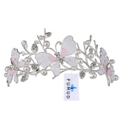 FUMUD Bridal Princess Crystal Wedding Tiara Crown pearl Oil leak Butterfly crown
