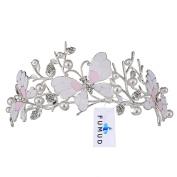 FUMUD Bridal Princess Crystal Wedding Tiara Crown pearl Oil leak Butterfly crown