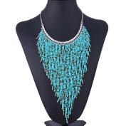 Sannysis Shine Small Beaded Bib Fringe Tassel Pyramid Triangle Collar Choker Necklace