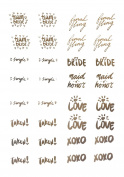 Bachelorette Party Tattoos by Bridal Swan- Mixed Set of 40 Gold Metallic Flash Tattoos- Team Bride Edition