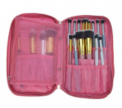 LOUISE MAELYS Multifunction Fabrics Makeup Brush Zipper Folio Case Cosmetic Bag For Travel