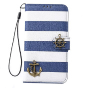 Lowpricenice Stripes Anchor Rudder Wallet Flip Case Cover for for  for  for  for  for  for Samsung      Galaxy S5 I9600