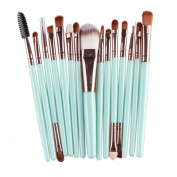 Sankuwen 15PCs Wool Makeup Brush Set Tools Toiletry Kit