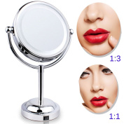 MQB LED Lighted Makeup Cosmetic Mirror 15cm 360 Degree Swivel Round Double-Sided 3X and 1X Magnification Mirrors