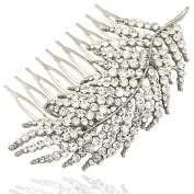 Q & Q Fashion Silver 1920s Gatsby Diamante Feather Leaf Bridal Prom Hair Pin Clip Dress Slide Comb