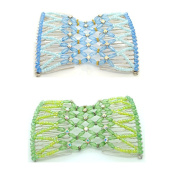 Casualfashion 2Pcs Equisite Stretchable Double Combs, Rhinestone Ez Combs Hair Styling Bands for Women Girls