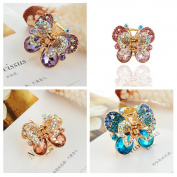 Casualfashion 4Pcs Rare Crystal Rhinestone Butterfly Bangs Clip Bow Hair Claw Gripper for Girl Women 1.26*2.8cm