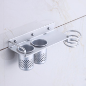 EchoAcc® Wall Mount Hair Dryer Hanging Rack Organiser, Aluminium Hair Dryer Holder with 2 Cups