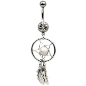 Off White Dreamcatcher Dream Catcher Belly Navel Ring Feather Bead Surgical