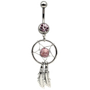 Hot Pink Dreamcatcher Dream Catcher Belly Navel Ring Feather Bead Surgical