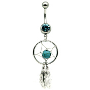B101 Turquoise Dreamcatcher Dream Catcher Belly Navel Ring Feather Bead Surgical