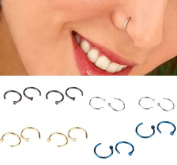 BeautyMood 16pcs Mixed Colour Stainless Steel Rhinestone Piercing Nose Studs Rings,Nose Studs