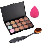 Beauty Clubs 15 Colours Concealer Palette kit Face Makeup Contour Cream With Brush