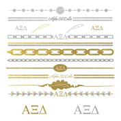 Fashiontats- Alpha Xi Delta jewellery inspired temporary metallic tattoos p-2010