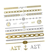 Fashiontats- Alpha Sigma Tau jewellery inspired temporary metallic tattoos p-2009