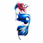 2 Sheets Waterproof Temporary Tattoos Sticker Removable Body Art Fake Tattoo Paper Arm Sleeve Cover Mermaid