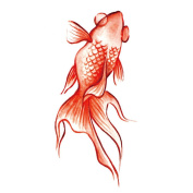 2 Sheets Waterproof Temporary Tattoos Sticker Removable Body Art Fake Tattoo Paper Cover Goldfish